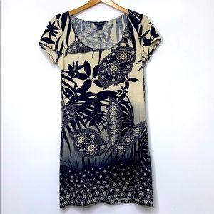 LUCKY BRAND Navy Tan Scoop Jersey Palm Print Dress